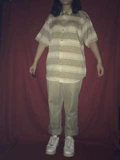 🚚 古銅清淡條紋短袖襯衫    CheeseStan起司史丹