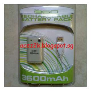 [BN] Xbox 360 3600mAh High Capacity Rechargeable Battery Pack & Charging Cable (Brand New)