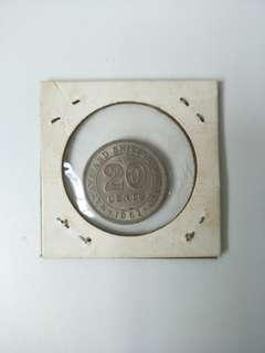 1961 Malaya And British Borneo 20 Cents Coin