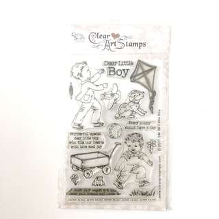 Crafty secrets boy and dog play clear cling rubber stamp