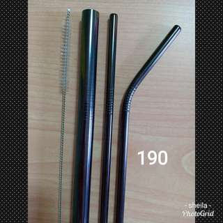 Stainless straw set in black