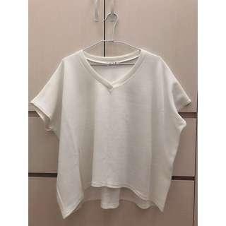 波浪織紋V領上衣-白色