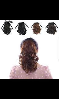 Women's wavy curly false ponytail clip haor extension hairpiece wig