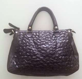 RIKA Black Plain Patent Leather Hangbag