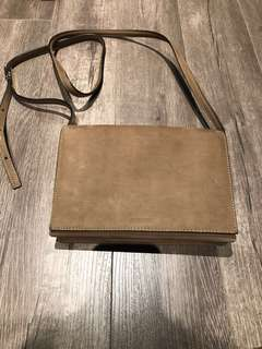 Aritzia auxiliary suede flap small side bag with 3 slots