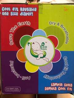 Reusable Diaper 3pcs cover and 6pcs Eco-soakers