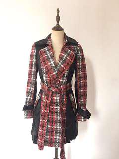 Tweed & PU leather trench coat