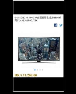 "SAMSUNG 48""UHD 4K曲面智能電視JU6800系列6 UA48JU6800JXZK"