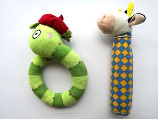 PRELOVED Set of 2 IKEA Green Snake Plush Rattler Baby's Toy &  Blue Squeky Moo Cow Toy - in very good condition