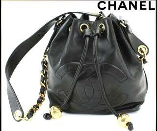 Vintage Chanel黑色羊皮金屬波波水桶袋Budget 23.5x20x14cm