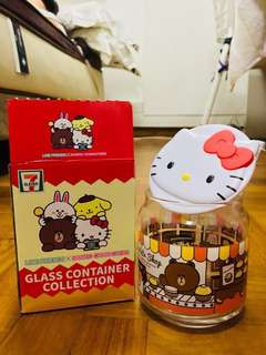 7-11 Sanrio Hello Kitty White Lid Glass Container Collection