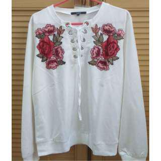 Embroidered White Laced Sweater