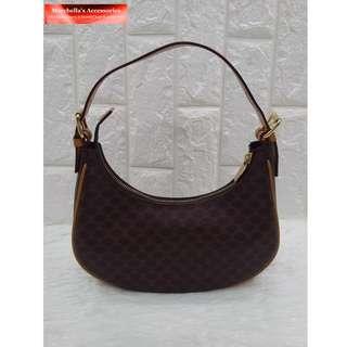 Celine Macadam Pattern Brown PVC Leather Mini Hobo Handbag