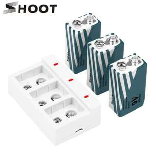 SHOOT 3 in 1 9V 800mAh Battery Set with Three Ports USB Charger for Smoke Detectors Drones Keyboards Toys Multimeters Accessories Kits