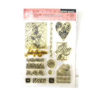 Penny black clearly in love music clear cling rubber stamp