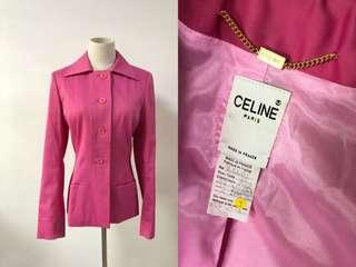 💯真品 近全新 Auth Celine pink Blazer 粉紅色修腰高級面料外套