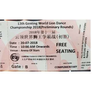 13th Genting World Lion Dance Championship (Preliminary Round - 20 July 2018) - 2 tickets