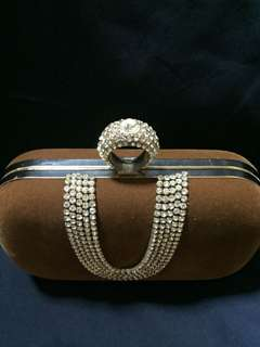 Ring Clutch Purse in Brown