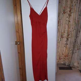 Red Bardot formal dress
