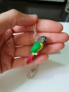 Customise pet figurine  - Parrot pendant made by polymer clay