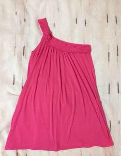 One-shoulder Dress in Fucshia