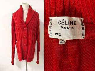 💯真品 全新 Auth Celine 100% wool red Cardigan 法式簡約紅色高級面料全羊毛外套