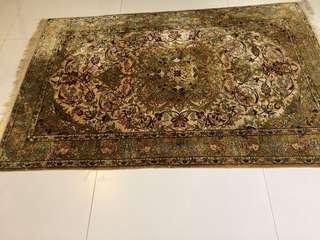Persian Carpet- Rare silk Kashan - 4ft x  6 ft . More than 25 years old- deer motif