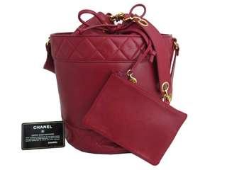 Vintage Chanel紅色羊皮圓桶形索繩袋Bucket 28x20x20cm