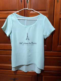 🚚 巴黎鐵塔雪紡T  淺綠 微透  #十月女裝半價
