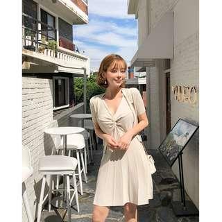小優雅甜美風格兩件式針織洋裝 cardigan+dress set ( CHUU 官網代購 ) 無袖 外套 傘襬裙 修身