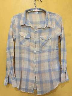 Cotton on checkered long sleeves polo