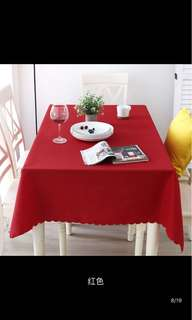 Red table cloth instock