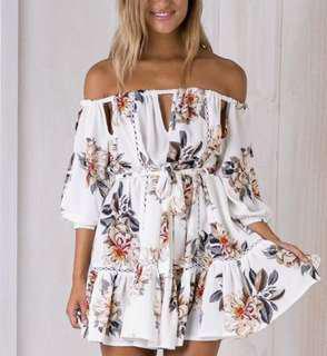 Off shoulder white floral garden dress