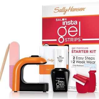 BNIB Sally Hansen Salon Insta Gel Manicure Nail Strips Starter Kit - Red My Lips