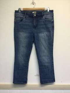 Just Jeans Au Size 14 Slim Fit High Rise Blue Crop Denim Cotton Jeans Pants