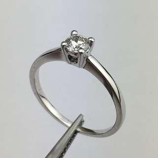18K白金戒指 28份鑽石 18K Withe gold Ring 0.28ct Diamond 可議價