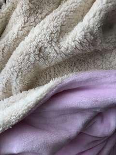 Sherpa Throw Fleece Blanket - Double Layer Pink