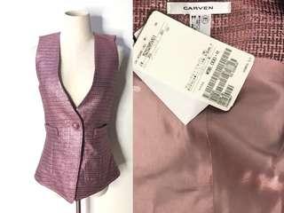 💯真品 全新連吊牌 原價近9千 Auth Carven vest jacket 高貴氣質粉色修腰背心外套
