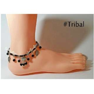 #Tribes Design Anklets : Tribal Lucky Charm Vintage Silver Legs Ankle Wear Black Beads Sellzabo Accessories Ladies Girls Women Female Lady Gift Presents