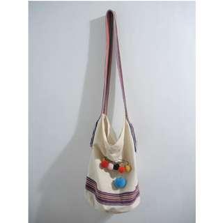 (私)二手 民族織帶帆布水桶包