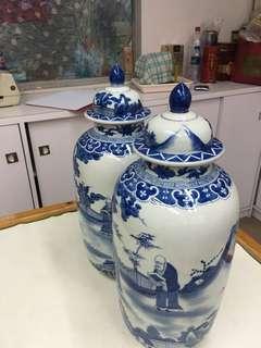 瓷器青花長壽蓋罐
