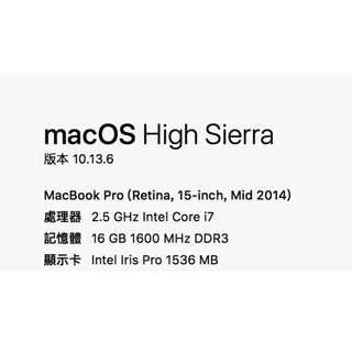 macbook pro 15.4 (Retina 15-inch, Mid 2014)