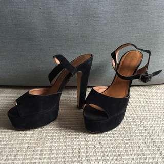 Diavolina Black Suede Platform Heels