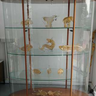 Oval glass cabinet