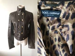 💯真品 Auth D&G Dolce & Gabbana leather brown jacket 高級金扣真皮外套