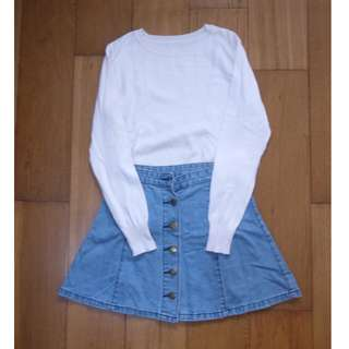 COMBO for Php350! White Long Sleeved Top and Denim Skirt
