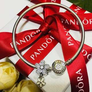 Authentic Pandora Charm Enamel Five Petals Flower Beads Charm Pendant Italy Sterling Silver 92.5 (CHARMS ONLY)