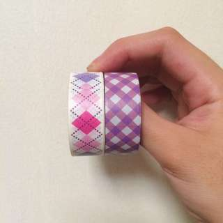 [bundle] Violet and Pink Checkered Washi Tapes