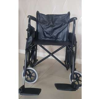 Affordable Black colour foldable wheelchair with legs rest support at $220 only!  Clean, Well Maintained, Comfortable & Safety with both handbrakes beside the wheels. $20 discount for self collection & Do GET WELL SOON !