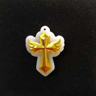 翡翠鑲足金十字架天使吊墜   天然A玉加足金